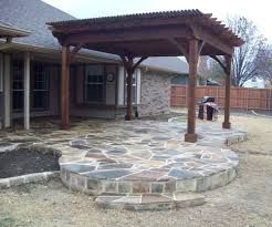 Flagstone Patio With Pergola Mrz Contracting Outdoor Grills Fire Pits Stone Work