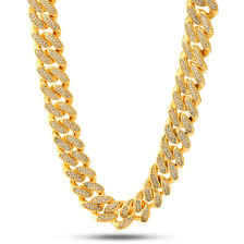 gold plated curb necklace images 14k gold 18mm quot studded quot miami cuban curb chain hip hop chains jpeg