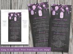 jar wedding programs diy wedding program template jar order of ceremony