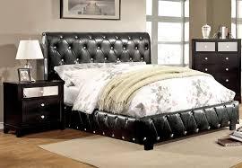 kelsey black leather platform bed