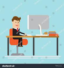 small businessman work on big desk stock vector 685992532