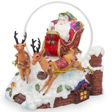 6 santa sleigh and reindeers deliver gifts snow