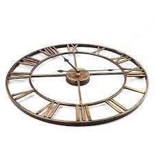 3d iron retro decorative wall clock big art gear roman numerals