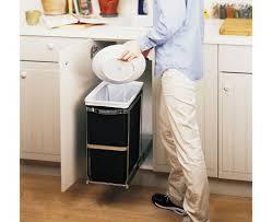 kitchen cabinet waste bins decoration double trash can holder in cabinet waste bins under