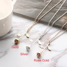 rose pendant necklace gold images Best 2018 valentines gift rose flower pendant necklace jpg