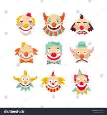 clown faces vector isolated icons set stock vector 588705035
