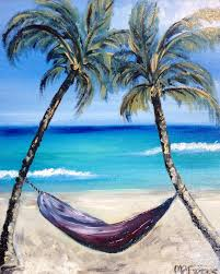 hammock and palm trees on beach oil painting by melissaatorresart