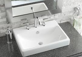 Bathroom Sink Set Xyuim White Semi Recessed Sink Set In Honed Travertine Tops