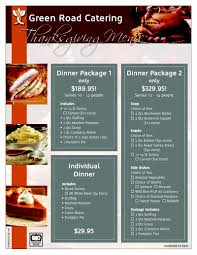 green road catering thanksgiving menu must order by wednesday 5pm