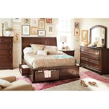 Hanover Piece King Storage Bedroom Set Cherry Value City - 7 piece king bedroom furniture sets