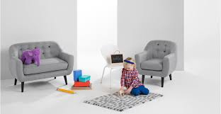 Sofa For Kids Room Mini Ritchie 2 Seater Sofa Pearl Grey With Rainbow Buttons Made Com