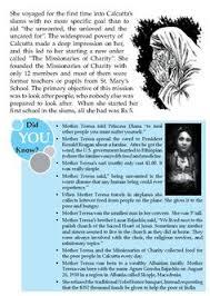 biography for mother literature grade 8 biography mother teresa 2 english literature