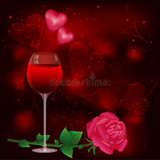 greeting card with wine glass and rose stock images image 22920894