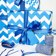 blue wrapping paper recycled blue chevron wrapping paper by