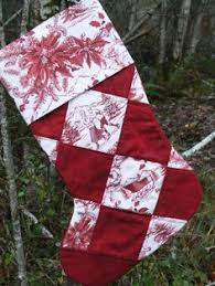 large sized strip quilted christmas stocking using flannel bella