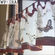 petit rideau cuisine rustique semi ombre papillon brodé fenêtre dépistage petit rideau