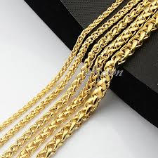 long gold link necklace images 1pcs 3mm 4mm 5mm 6mm 7mm long big wheat chains yellow gold color jpg