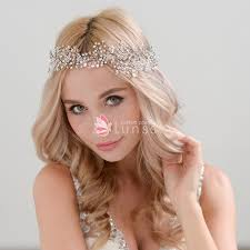 hair crystals exquisite rhinestones ivory pearls crystals silver headband