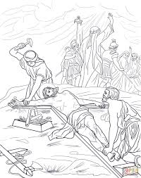 eleventh station jesus is nailed to the cross coloring page