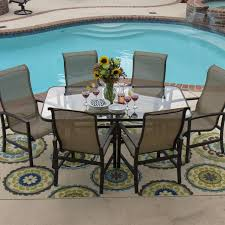 Patio Furniture 7 Piece Dining Set - acadia 7 piece sling patio dining set with glass table by lakeview