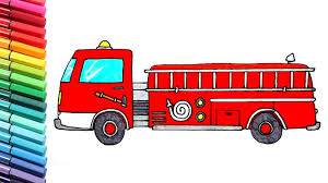 drawing coloring fire truck police car learn colors