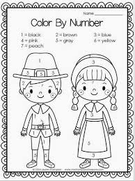 thanksgiving printables color by numbers pilgrims and thanksgiving