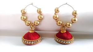 threaded earrings and gold handmade silk threaded bali jhumka earrings