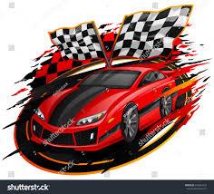 Custom Car Flag Speeding Racing Car Checkered Flag Racetrack Stock Vector