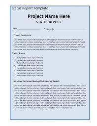 report weekly status report template