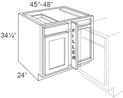 Kitchen Base Corner Cabinet by Newport White 45