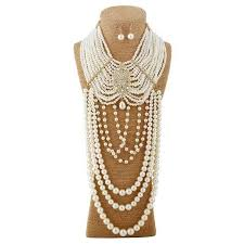 aliexpress pearl necklace images The sparkle place pearl necklace dangle earrings multi layer jpg
