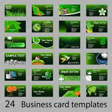 Business Invitation Card Format Set Of Green Eco Business Name Or Invitation Cards U2014 Stock Vector