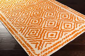 Burnt Orange Area Rugs Ats 1003 Burnt Orange Beige Hand Knotted Diamond Print Rug