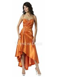 end a line satin orange sleeveless tea length petite inverted