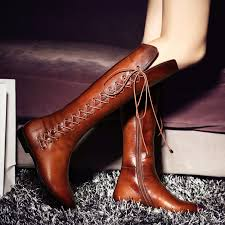 womens knee high boots sale rabbit fur casual wointer boots lace up high heels