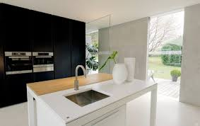 modern minimalist kitchen with hybrid island table worktop and