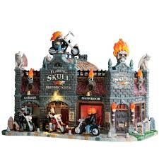 spooky town lemax spooky town collection flaming skull motorcycles seasonal