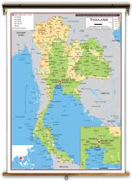 Thailand World Map by Thailand Physical Educational Wall Map From Academia Maps