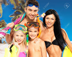 Beautiful Family Portrait Of Happy Fun Beautiful Family With Two Children At