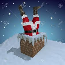 santa claus stuck in the chimney stock photo picture and royalty