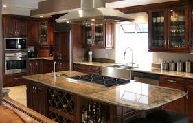 l shaped brown varnishes cherry wood cabinets double black square