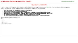 Sample Resume For Baker by Baker Work Experience Certificate