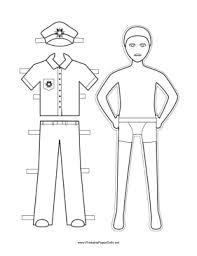 policeman paper doll color png