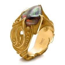 gold ring for men custom men s black opal and yellow gold ring 100574