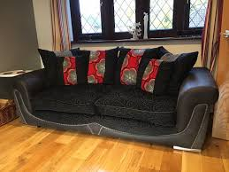 Scs Laminate Flooring Scs Poppy 1 X 3 Seater And 1 X 4 Seater Sofa In Black Red And Grey