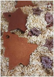 cinnamon sensory rice play bin