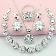 white stone necklace sets images Ashley fashion and cute white stone silver color jewelry sets for jpg