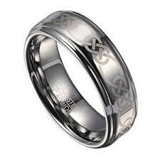celtic mens wedding bands 8mm celtic knot men s tungsten wedding band with polished finish