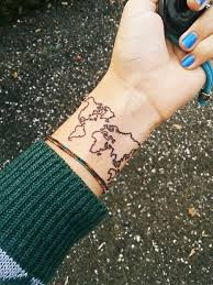 World Map Outline Tattoo by 32 Elegant Map Tattoos On Wrists