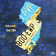 License Plate Usa Map by New Jersey Map Vintage Recycled State License Plate Art Mixed